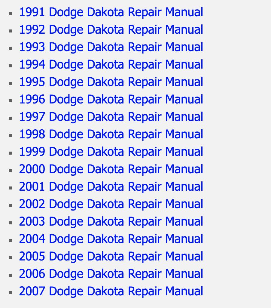 Dodge Dakota Online Factory Service Manual