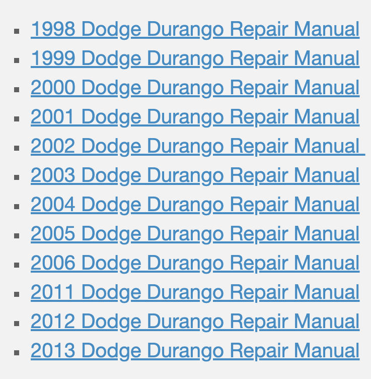 Dodge Durango Repair Manuals