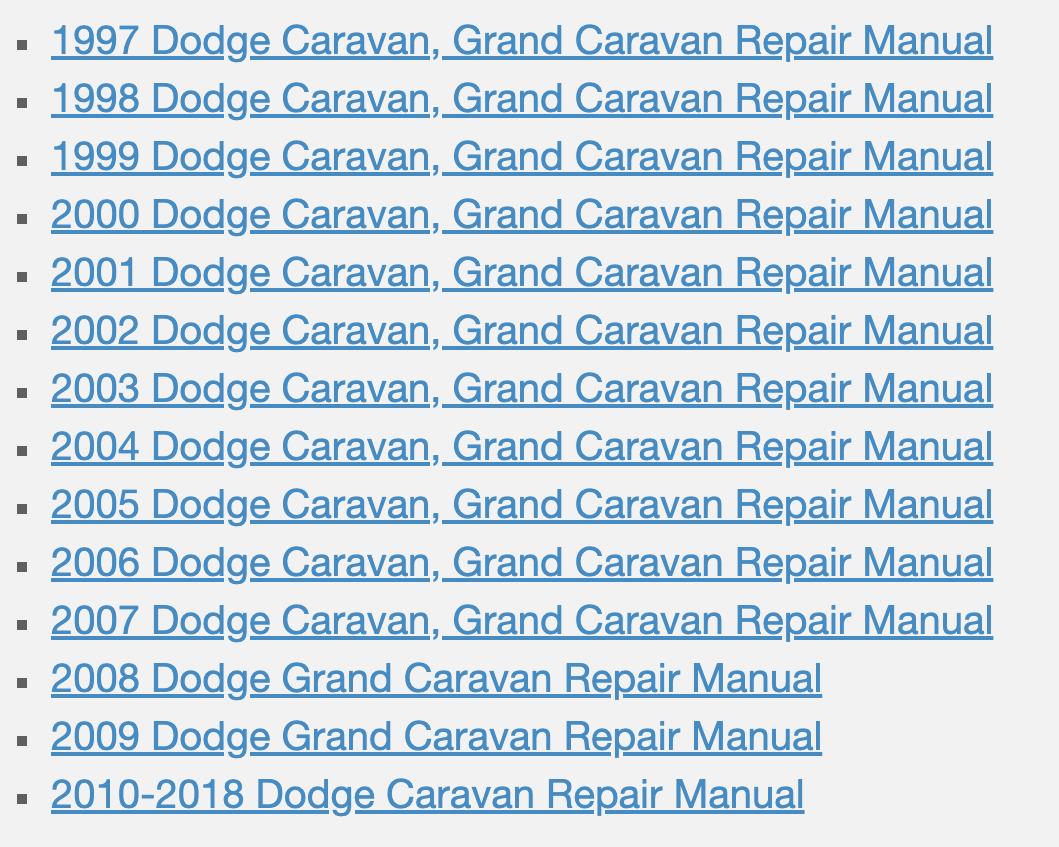 Download Dodge Caravan, Grand Caravan Service Manual Pdf